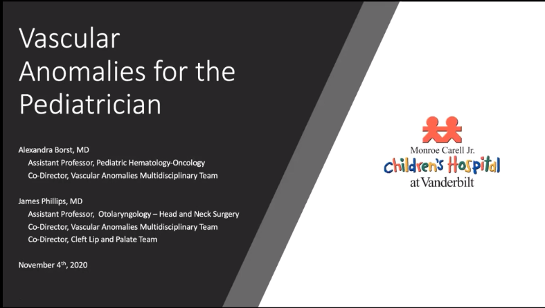 CPF Education Series: Vascular Anomalies for the Pediatrician